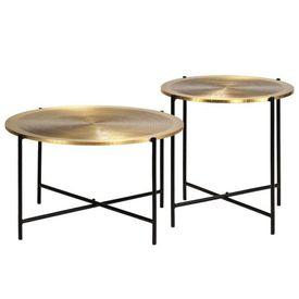 vidaXL Set de masă, 2 piese, MDF cu alamă