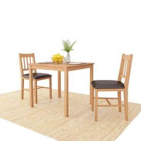 vidaXL Set mobilier bucătărie, 3 piese, lemn masiv de stejar