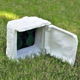 Priză de grădină cu 4 intrări impermeabilă Rășină Albă