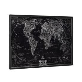 Design fotografie de perete pe placa de aluminiu Modell 10 - Harta lumii, 60x80x2,8cm, cu rama lemn