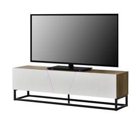 Comoda TV cu LED AANT-0330, 140 x 35 x 41 cm, MDF/metal, cu 2 dulapuri, culoarea lemnului, alb lucios, negru