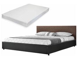 Corium® [my.bed] Pat frantuzesc elegant - cu saltea cu spuma recel - 140x200cm (Partea capului: imitatie de piele Wild maro Rama: imitatie de piele negru) - cu rama pat