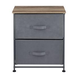 Comoda cu sertare Dona, 50 x 45 x 30 cm, metal/poliester/MDF, gri/efect lemn, cu 2 sertare