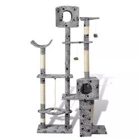 Ansamblu de joacă cu stâlp 175 cm 2 căsuțe Gri cu urme de lăbuțe