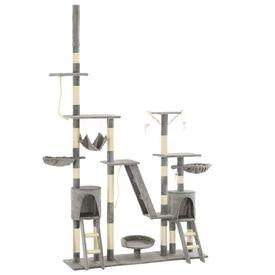 Ansamblu pentru pisici, stâlpi din funie sisal, 230-250 cm, gri