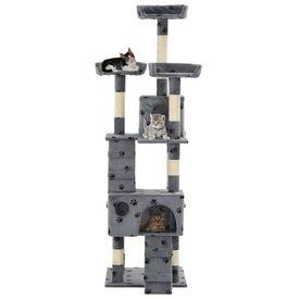 Ansamblu pisici cu funie de sisal, 170 cm, imprimeu lăbuțe, gri