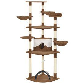 Ansamblu pisici cu stâlpi din funie de sisal, maro, 190 cm