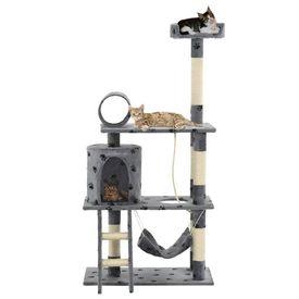 Ansamblu pisici stâlpi funie sisal, 140 cm imprimeu lăbuțe, gri