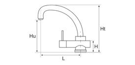 Baterie Bucatarie Lebada Tip C 4001 / L[mm]: 220; H[mm]: 70; Hu[mm]: 260; Ht[mm]: 310
