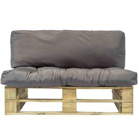 Canapea de grădină din paleți cu perne gri, lemn de pin FSC