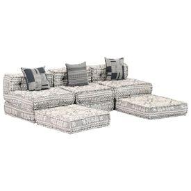 Canapea extensibilă modulară cu 3 locuri, gri, material textil