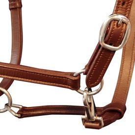 Căpăstru reglabil pentru cai, piele naturală, maro