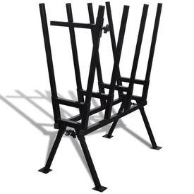 Capră din metal acoperit cu pulbere pentru tăiat lemne, negru