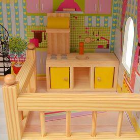 Casă de păpuși cu 3 etaje, lemn, 60 x 30 x 90 cm