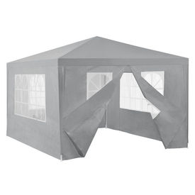 [casa.pro]® Pavilion gradina AAGP-9602, 400 x 300 x 255 cm, metal/polietilena, gri inchis