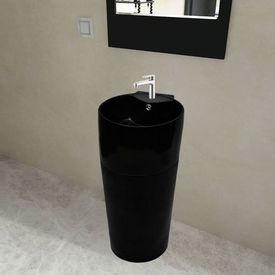 Chiuvetă ceramică verticală rotundă baie bazin/Gaură scurgere, negru