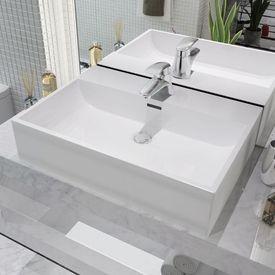 Chiuvetă cu orificiu robinet, ceramică 60,5x42,5x14,5 cm, alb