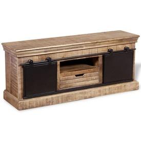 Comodă TV cu 2 uși glisante lemn de mango masiv 110x30x45 cm