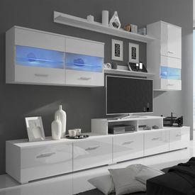 Comoda TV cu LED 7 piese 250 cm alb lucios