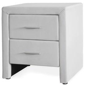 Corium® Noptiera eleganta din imitatie de piele cu 2 sertare - 48x42x55cm - alb