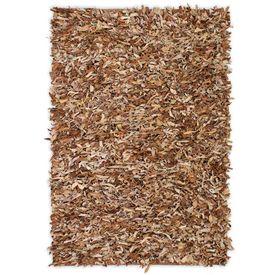 Covor fire lungi, piele naturală, 120x170 cm, Bronz natural