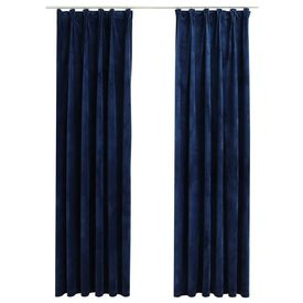 Draperii opace 2 buc. albastru închis 140x245cm catifea cârlige