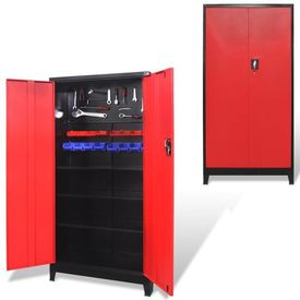 Dulap scule cu 2 uși, oțel, 90 x 40 x 180 cm, negru și roșu