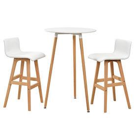 [en.casa]® Masa bar rotunda - design retro - cu 2 scaune - alb
