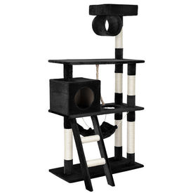 [en.casa]® Mobila pisici - Sisal pisici negru cu culcus