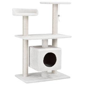 [en.casa]® Mobilier pisica - Sisal pisica cu jucarii si culcus 95 cm (culoare alb)