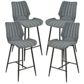 [en.casa]® Set 4 bucati scaune bar Planica, 102,5 x 46,5 cm, poliester/metal, gri inchis