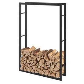 [en.casa]® Stove Suport lemne pentru sobe si seminee AAFR-6608, 100 x 150 x 25 cm, otel, negru