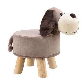 [en.casa] Scaun taburet pentru copii Pingo, model Caine, 45 x 28 x 48 cm, 150 Kg, lemn/flanel, maro