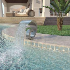 Fântână de piscină, oțel inoxidabil, 50 x 30 x 53 cm, argintiu
