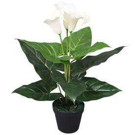 Floare de cală crin artificială cu ghiveci, 45 cm, alb