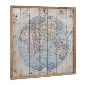Fotografie de perete design pe placa de aluminiu Modell 4 - Harta lumii, 60x60x2,8cm, cu rama lemn