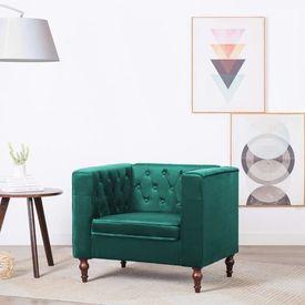 Fotoliu cu tapițerie din catifea, 86 x 67 x 71 cm, verde