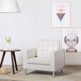 Fotoliu cu tapițerie din piele ecologică, alb, 75 x 70 x 75 cm
