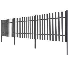 Gard șipci, 3 buc, WPC, 6 m lungime, 120 cm înălțime, gri