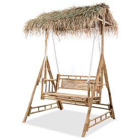 Leagăn 2 locuri, cu frunze de palmier, bambus, 202 cm