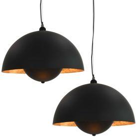 Lustre, 2 buc., negru și auriu, semisferic, 30 cm, E27