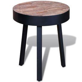 Masă de capăt rotundă, lemn de tec reciclat