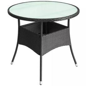 Masa de exterior din poliratan, 80 x 74 cm, negru