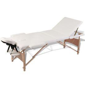 Masă de masaj pliabilă 3 zone cadru de lemn + set accesorii