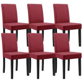 Masa eleganta Klara, stejar - maro deschis, 140 x 90 cm - cu 6 scaune imitatie de piele, bordo cu picioare negre