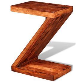 Masă laterală în formă de Z, lemn masiv de sheesham