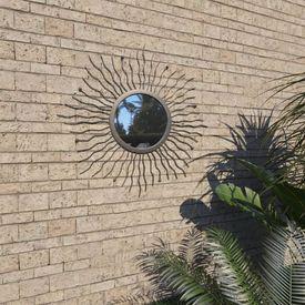 Oglindă de perete de grădină, negru, 60 cm, raze de soare