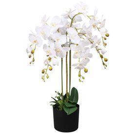 Orhidee artificială cu ghiveci, 75 cm, alb
