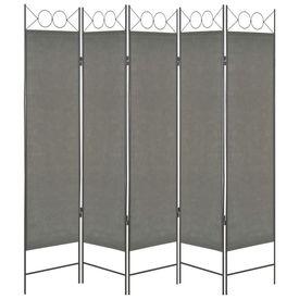 Paravan de cameră cu 5 panouri, antracit, 200 x 180 cm