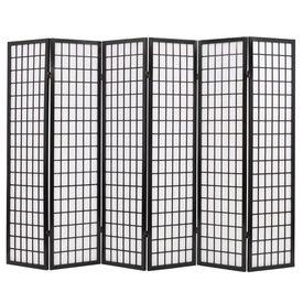 Paravan pliabil cu 6 panouri, stil japonez, 240x170 cm, Negru
